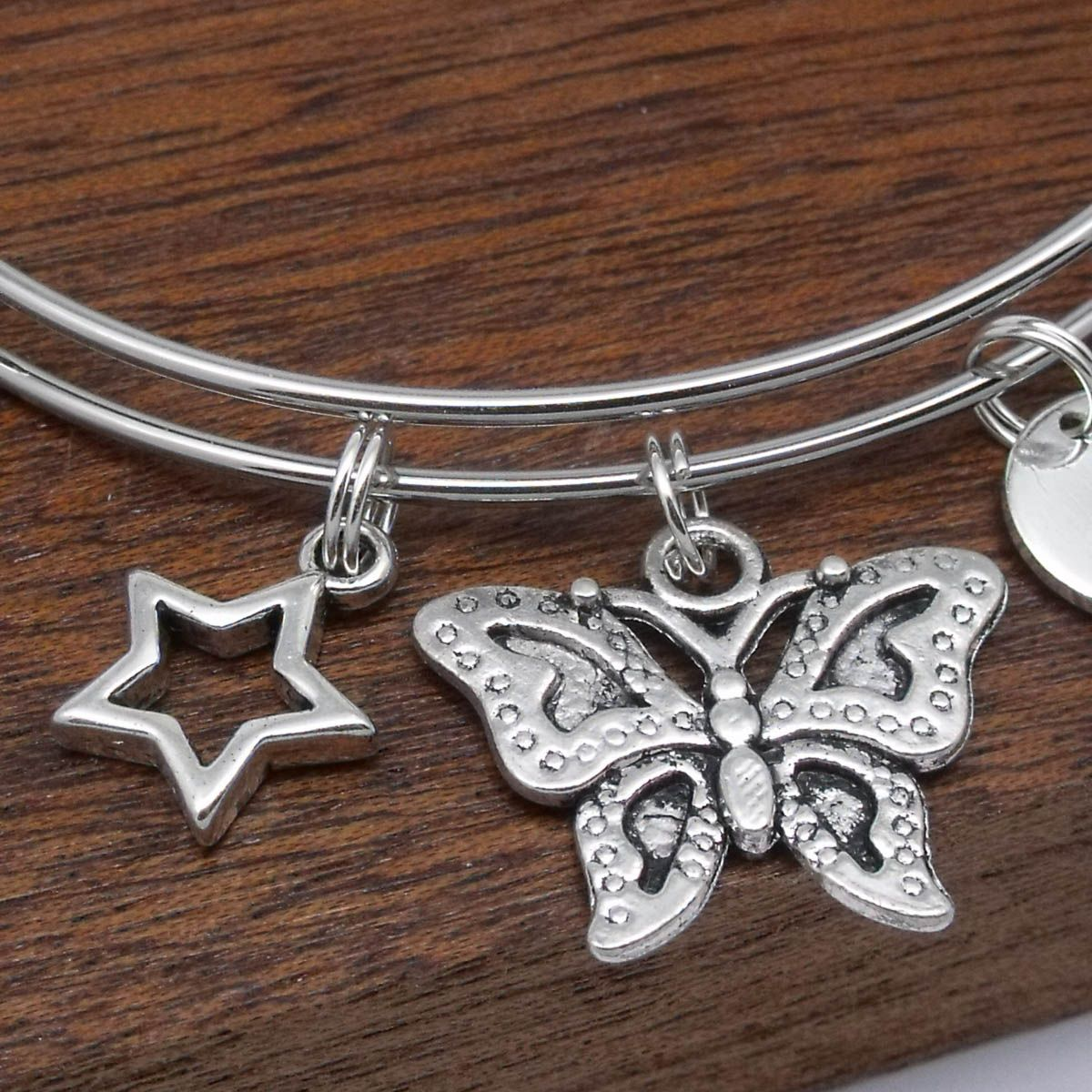 Butterfly heart star initial charm bracelet butterfly heart star initial charm bracelet mozeypictures Image collections
